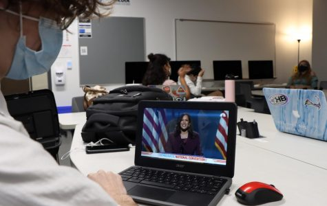 Senior Wes Barrett watches Kamala Harris accept her nomination as Vice President. Joe Biden recently came to make the strategic decision to run with her earlier this week.