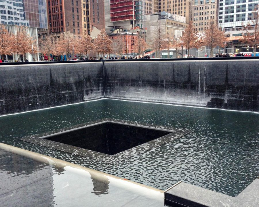 A fountain at the World Trade Center Memorial flows in remembrance of those who lost their lives on 9/11. Advisor Taylor Mersmann captured this photo Feb. 2015.