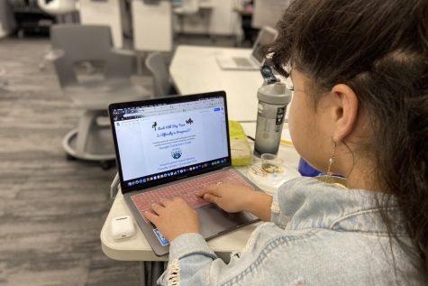 "Assistant editor Gianna Ortner-Findlay looks at the Step Team flyer. Students online and in person can join the step team, but all practices will be in person. ""They (students) can still come on Monday,"" Ballou said. ""to kind of feel it out to see if this is something they actually want to do."""