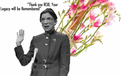 A depiction memorializing Ruth Bader Ginsburg in her passing sits in front of a a bouquet of Freesia, her favorite flower. Ginsburg died on September 18,  leaving questions about the future of the Supreme Court, and the rest of the country.
