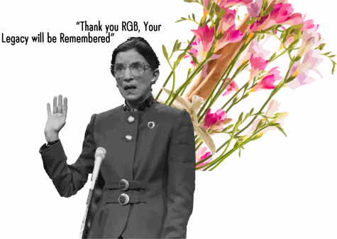 "A depiction memorializing Ruth Bader Ginsburg in her passing sits in front of a a bouquet of Freesia, her favorite flower. Ginsburg died on September 18,  leaving questions about the future of the Supreme Court, and the rest of the country. ""The U.S. lost a judicial icon and historic trail blazer,"" sophomore and columnist Shreya Srivathsan. ""She was known for her tireless efforts of fighting for women"