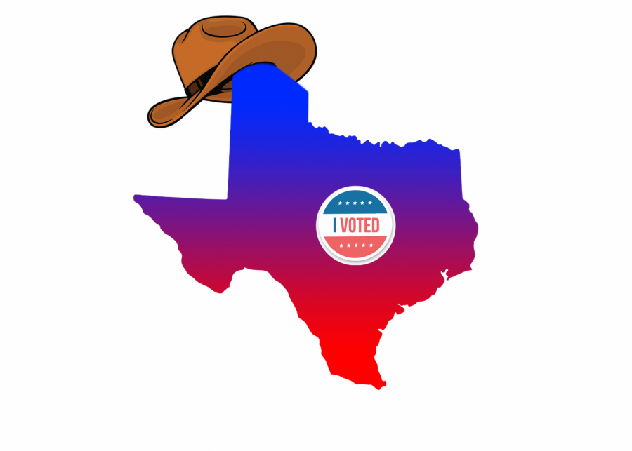 Geographical map of Texas, displayed as a political gradient, wears a cowboy hat and an