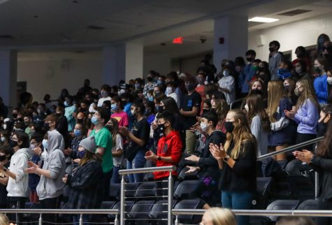 "Students wear masks while celebrating at a pep rally earlier this year. Governor Greg Abbott announced that the mask mandate will be lifted March 10. ""Today"