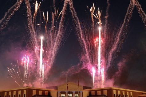 Fireworks shoot off the roof of Rock Hill High School during the inaugural Ribbon Cutting Ceremony. Student performers such as the Rockettes, marching band, cheer and orchestra performed at this community event. The Ribbon Cutting Ceremony was originally scheduled for August, but was postponed due to COVID-19 concerns.