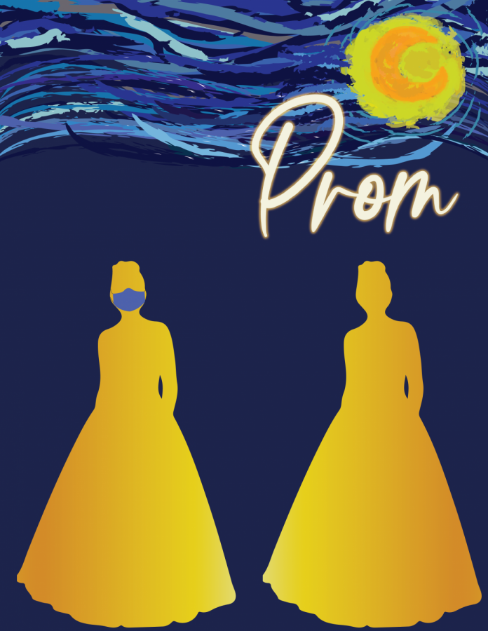 A graphic by Harvey Watkins depicts the prom theme,