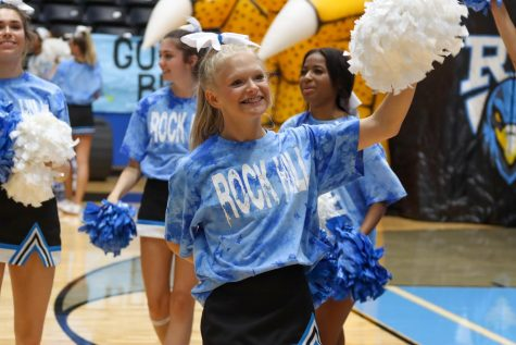 """The Cheer team prepares for every Pep Rally by  going over their routines and schedule of events in order to get into the right headspace and perform their best. """"This Pep Rally in particular was very special because it was the first real pep rally of the season and for Rock Hill, excluding the end of year pep rally last year,"""" said junior Hope Dyer. """"Thursday"""