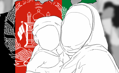 Graphic Designer Riley Gillum creates a graphic that shows mother and son embracing in temple in front of an outline of Afghanistan, in its countries colors. The Taliban completely took over Kabul, Afghanistan on Aug. 15th, reporter Shreya Srivathsan said, American troops withdrew the military forces stationed there, per Biden's request, after 2 decades of resistance.  The United States military has been in Afghanistan since 2001, to fight the War on Terror.